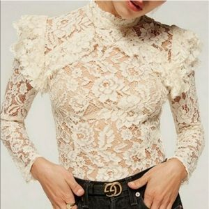 Reformation Celestia Lace Ivory Top